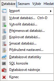 Menu - Databáze