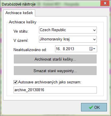 Databázové nástroje - Archivace kešek