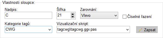 Editor sloupců - vlastnosti sloupce