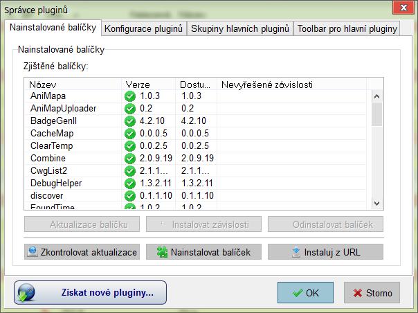 Správce pluginů - instalované aplikace
