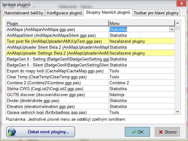 Správce pluginů - Skupiny hlavních pluginů
