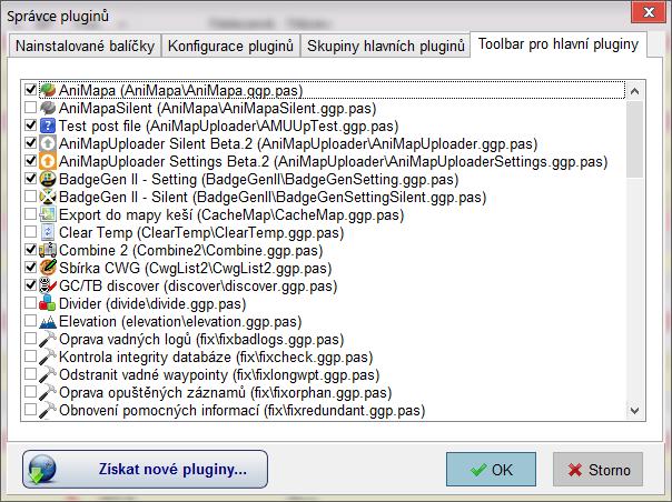 Správce pluginů - Toolbar pro hlavní pluginy