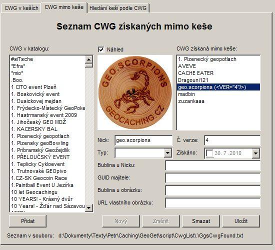 Seznam CWG získaných mimo keše (výměnnou, poštou, ...)