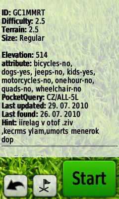 Informace v listingu keše