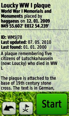 Informace v listingu waymarku