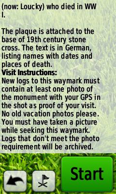 Zobrazení listingu waymarku
