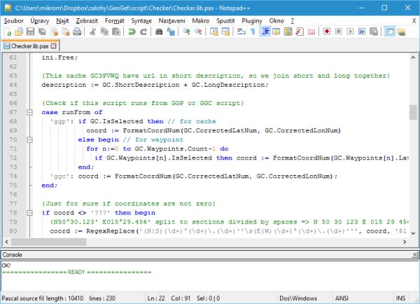 Základní okno programu s právě otevřeným skriptem